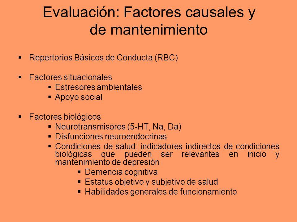 Evaluación: Factores causales y de mantenimiento Repertorios Básicos de Conducta (RBC) Factores situacionales Estresores ambientales Apoyo social Fact