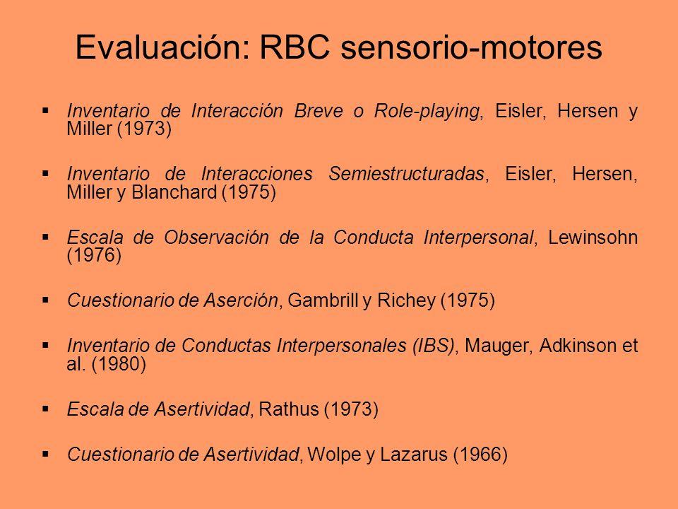 Evaluación: RBC sensorio-motores Inventario de Interacción Breve o Role-playing, Eisler, Hersen y Miller (1973) Inventario de Interacciones Semiestruc
