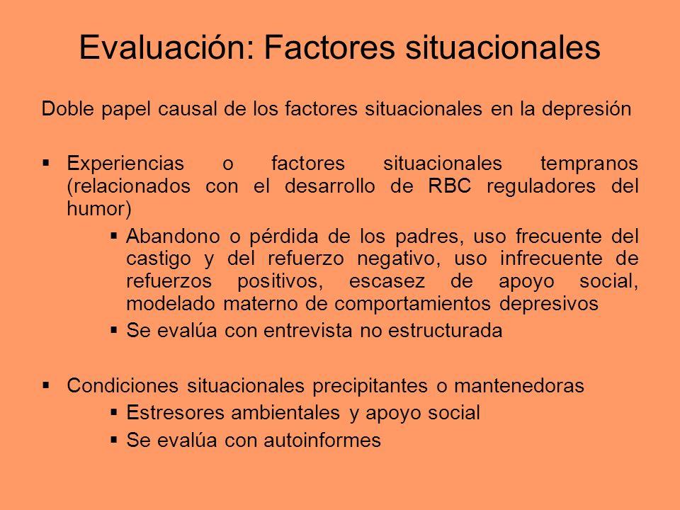 Evaluación: Factores situacionales Doble papel causal de los factores situacionales en la depresión Experiencias o factores situacionales tempranos (r