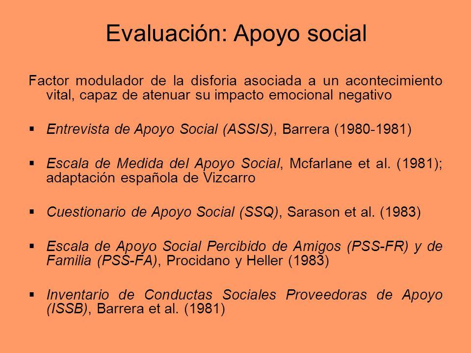 Evaluación: Apoyo social Factor modulador de la disforia asociada a un acontecimiento vital, capaz de atenuar su impacto emocional negativo Entrevista