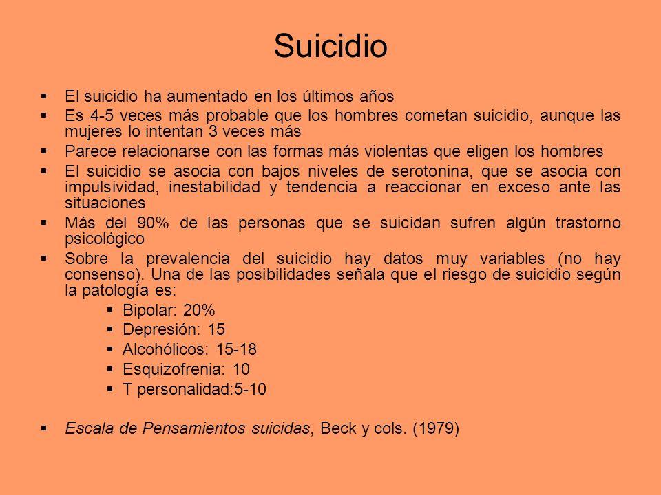 Suicidio El suicidio ha aumentado en los últimos años Es 4-5 veces más probable que los hombres cometan suicidio, aunque las mujeres lo intentan 3 vec
