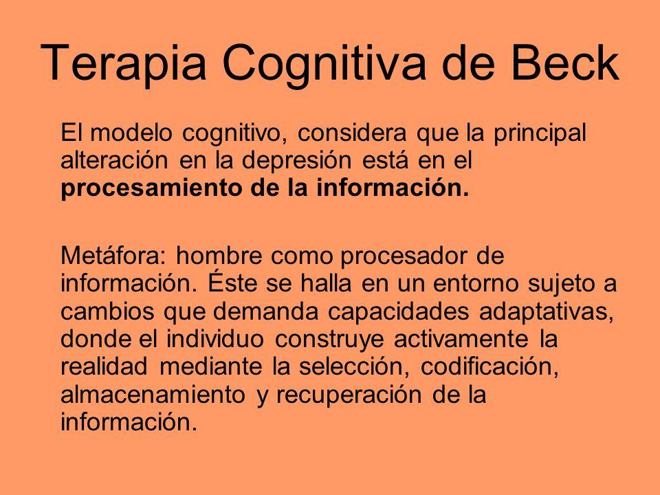 Terapia Cognitiva de Beck El modelo cognitivo, considera que la principal alteración en la depresión está en el procesamiento de la información. Metáf
