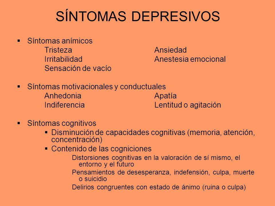 SÍNTOMAS DEPRESIVOS Síntomas anímicos Tristeza Ansiedad IrritabilidadAnestesia emocional Sensación de vacío Síntomas motivacionales y conductuales Anh