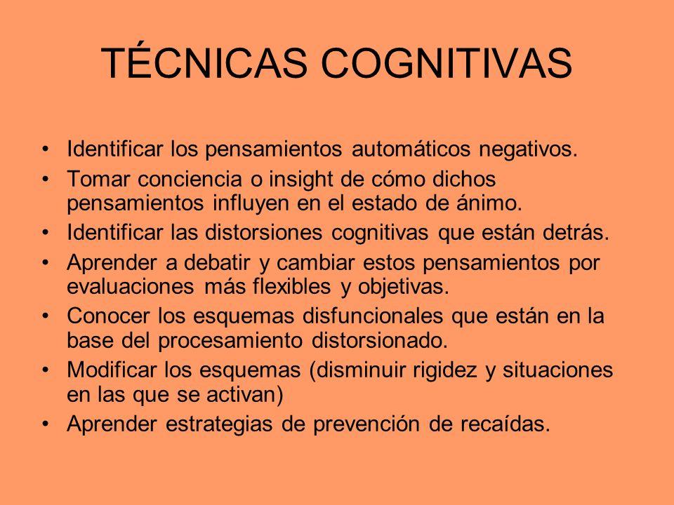 TÉCNICAS COGNITIVAS Identificar los pensamientos automáticos negativos. Tomar conciencia o insight de cómo dichos pensamientos influyen en el estado d