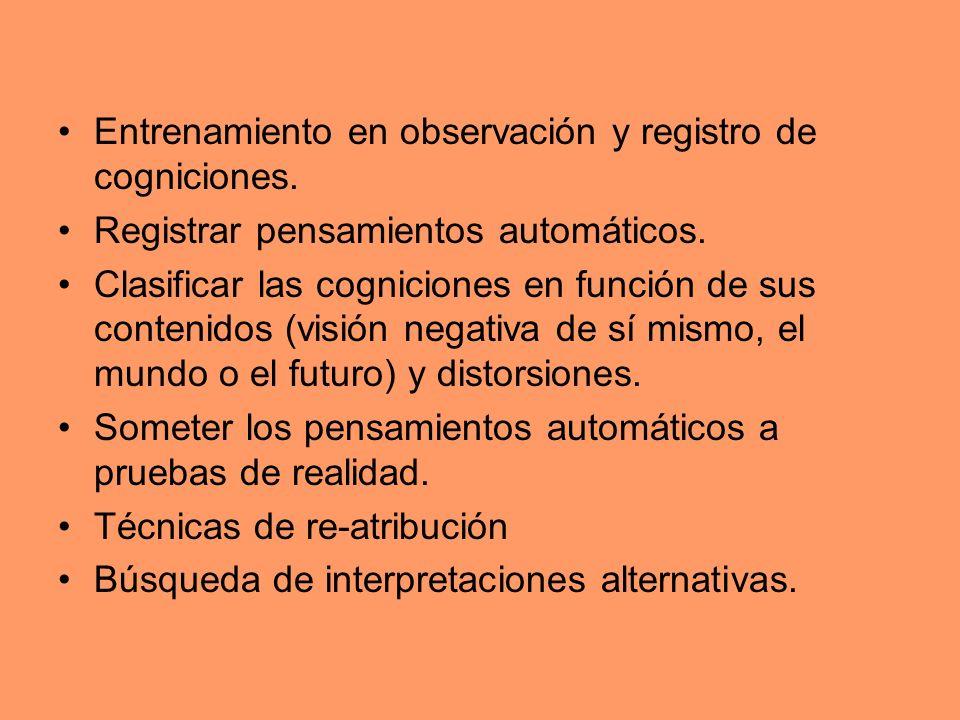 Entrenamiento en observación y registro de cogniciones. Registrar pensamientos automáticos. Clasificar las cogniciones en función de sus contenidos (v