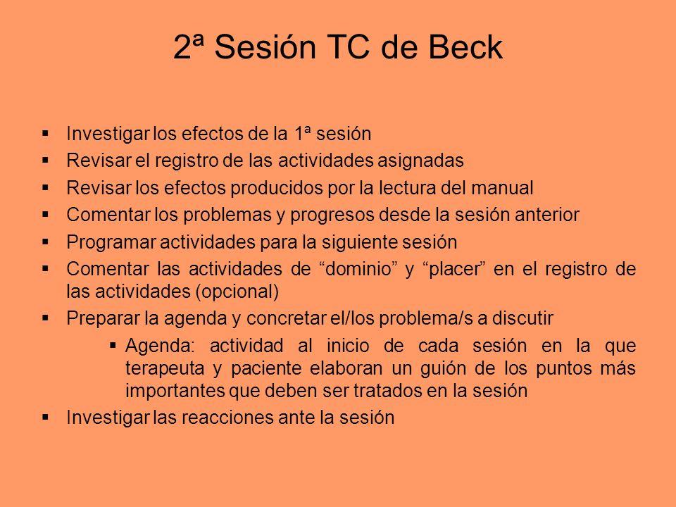 2ª Sesión TC de Beck Investigar los efectos de la 1ª sesión Revisar el registro de las actividades asignadas Revisar los efectos producidos por la lec
