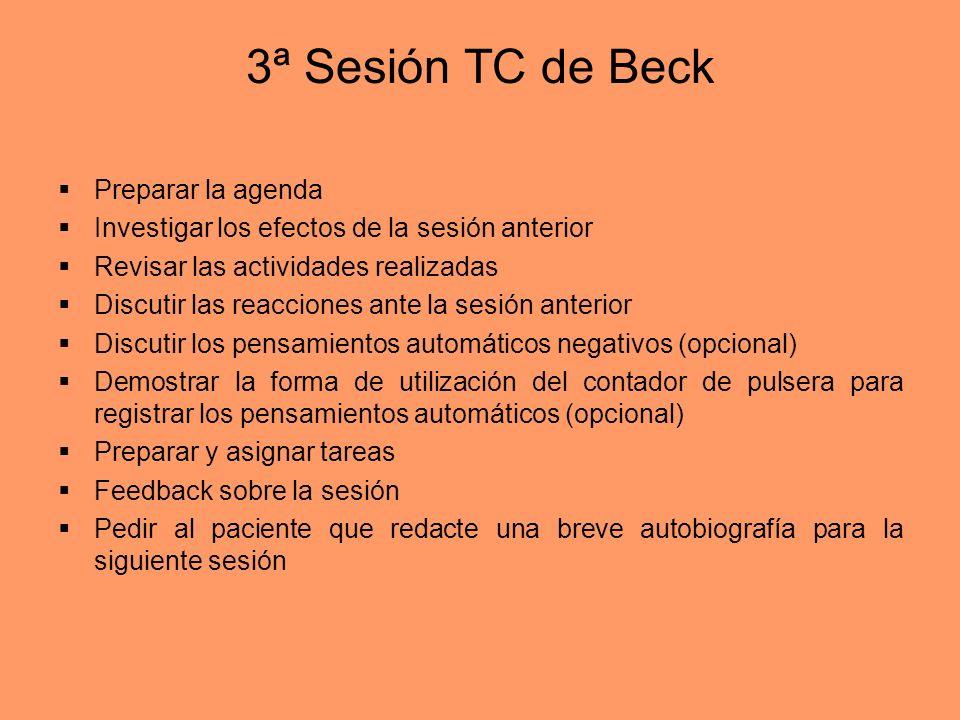 3ª Sesión TC de Beck Preparar la agenda Investigar los efectos de la sesión anterior Revisar las actividades realizadas Discutir las reacciones ante l