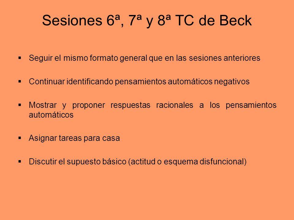 Sesiones 6ª, 7ª y 8ª TC de Beck Seguir el mismo formato general que en las sesiones anteriores Continuar identificando pensamientos automáticos negati