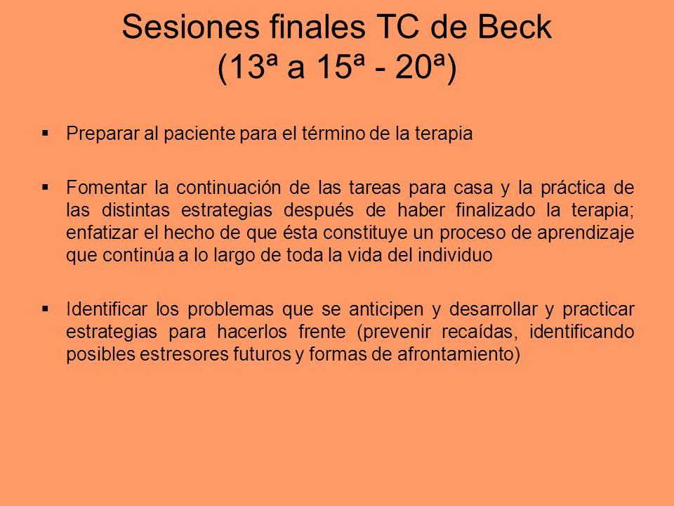 Sesiones finales TC de Beck (13ª a 15ª - 20ª) Preparar al paciente para el término de la terapia Fomentar la continuación de las tareas para casa y la