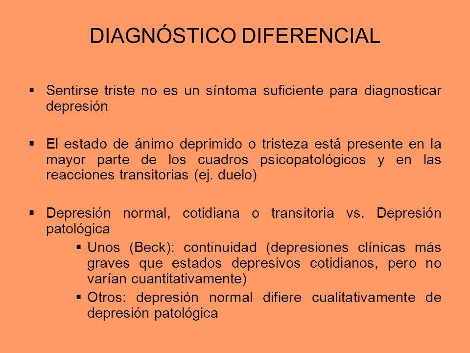 DIAGNÓSTICO DIFERENCIAL Sentirse triste no es un síntoma suficiente para diagnosticar depresión El estado de ánimo deprimido o tristeza está presente
