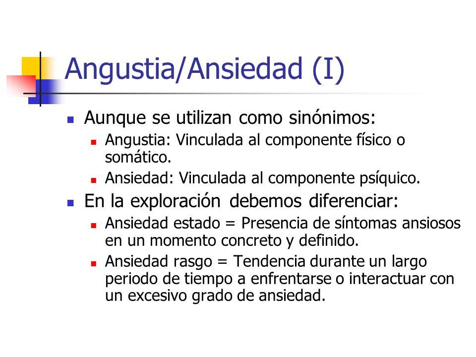Angustia/Ansiedad (I) Aunque se utilizan como sinónimos: Angustia: Vinculada al componente físico o somático. Ansiedad: Vinculada al componente psíqui