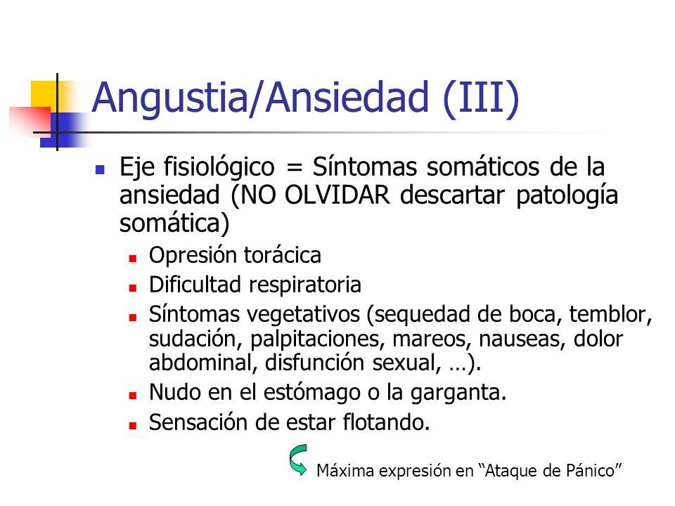 Angustia/Ansiedad (III) Eje fisiológico = Síntomas somáticos de la ansiedad (NO OLVIDAR descartar patología somática) Opresión torácica Dificultad res
