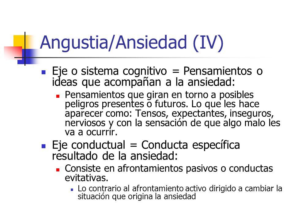 Angustia/Ansiedad (IV) Eje o sistema cognitivo = Pensamientos o ideas que acompañan a la ansiedad: Pensamientos que giran en torno a posibles peligros presentes o futuros.