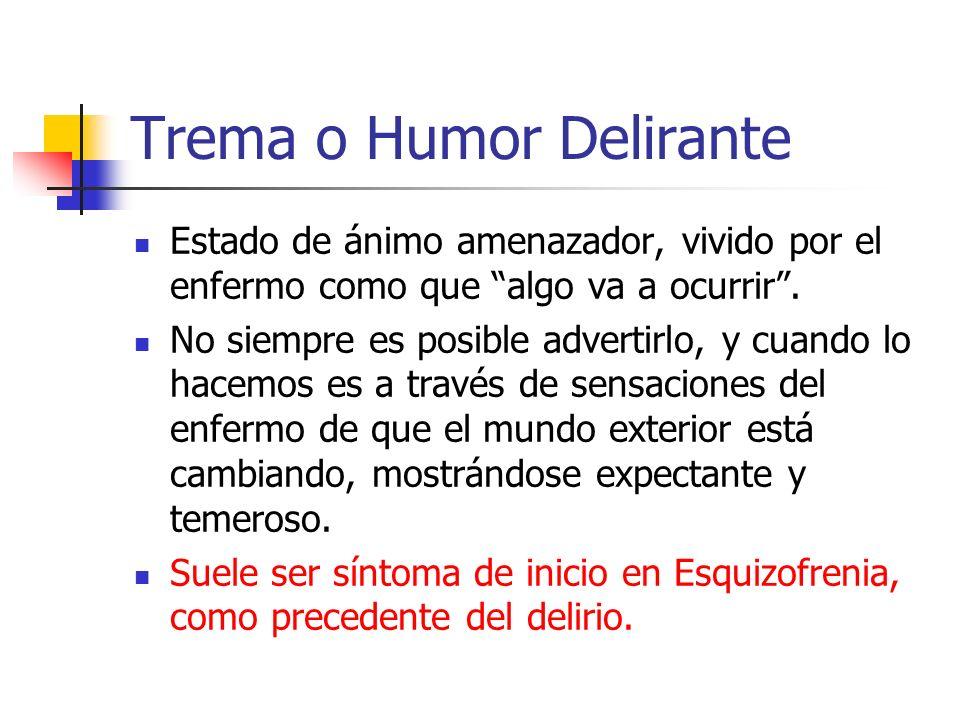 Trema o Humor Delirante Estado de ánimo amenazador, vivido por el enfermo como que algo va a ocurrir.