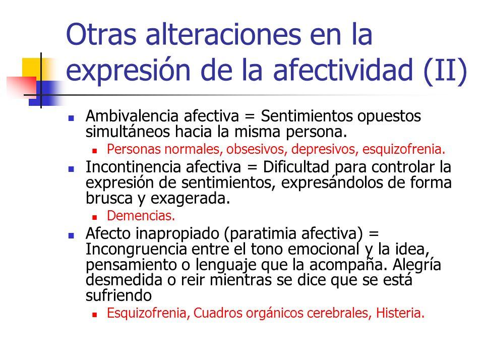 Otras alteraciones en la expresión de la afectividad (II) Ambivalencia afectiva = Sentimientos opuestos simultáneos hacia la misma persona.