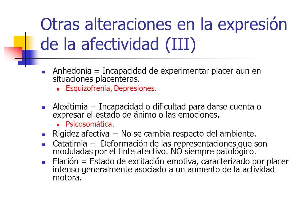 Otras alteraciones en la expresión de la afectividad (III) Anhedonia = Incapacidad de experimentar placer aun en situaciones placenteras.