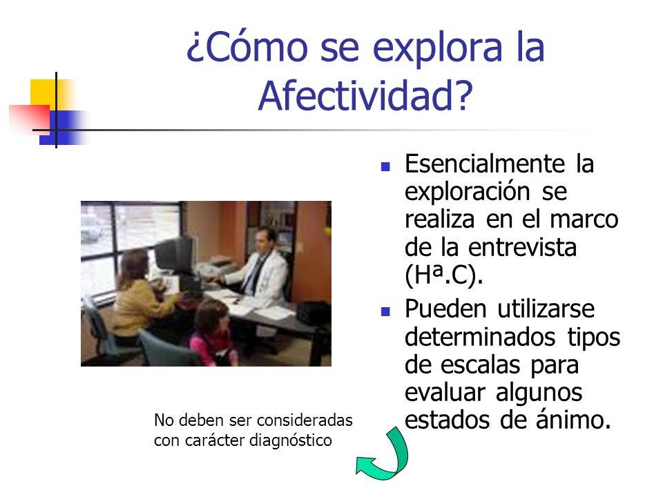 ¿Cómo se explora la Afectividad? Esencialmente la exploración se realiza en el marco de la entrevista (Hª.C). Pueden utilizarse determinados tipos de