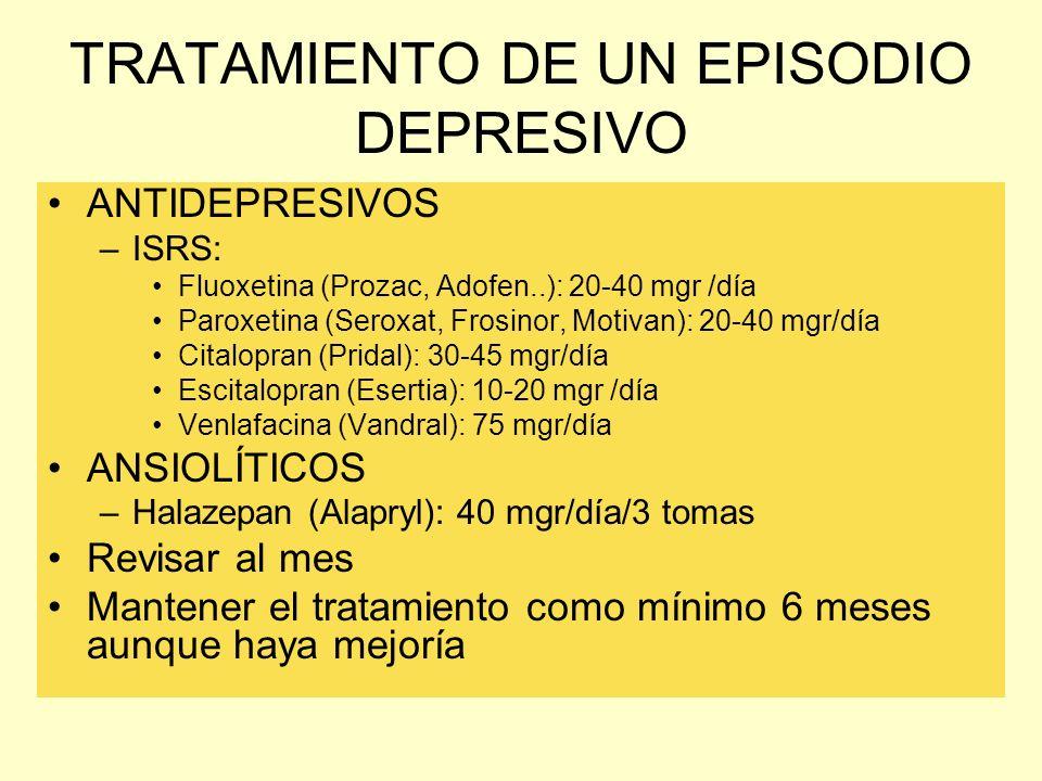 TRATAMIENTO DE UN EPISODIO DEPRESIVO ANTIDEPRESIVOS –ISRS: Fluoxetina (Prozac, Adofen..): 20-40 mgr /día Paroxetina (Seroxat, Frosinor, Motivan): 20-4