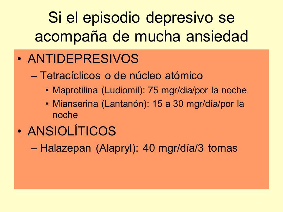 Si el episodio depresivo se acompaña de mucha ansiedad ANTIDEPRESIVOS –Tetracíclicos o de núcleo atómico Maprotilina (Ludiomil): 75 mgr/dia/por la noc