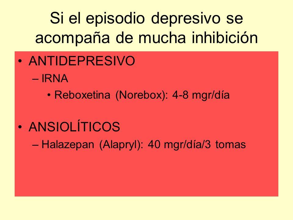Si el episodio depresivo se acompaña de mucha inhibición ANTIDEPRESIVO –IRNA Reboxetina (Norebox): 4-8 mgr/día ANSIOLÍTICOS –Halazepan (Alapryl): 40 m