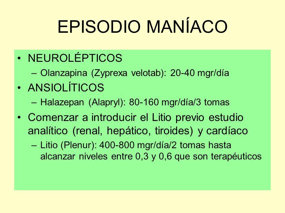 EPISODIO MANÍACO NEUROLÉPTICOS –Olanzapina (Zyprexa velotab): 20-40 mgr/día ANSIOLÍTICOS –Halazepan (Alapryl): 80-160 mgr/día/3 tomas Comenzar a intro