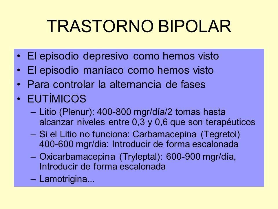 TRASTORNO BIPOLAR El episodio depresivo como hemos visto El episodio maníaco como hemos visto Para controlar la alternancia de fases EUTÍMICOS –Litio