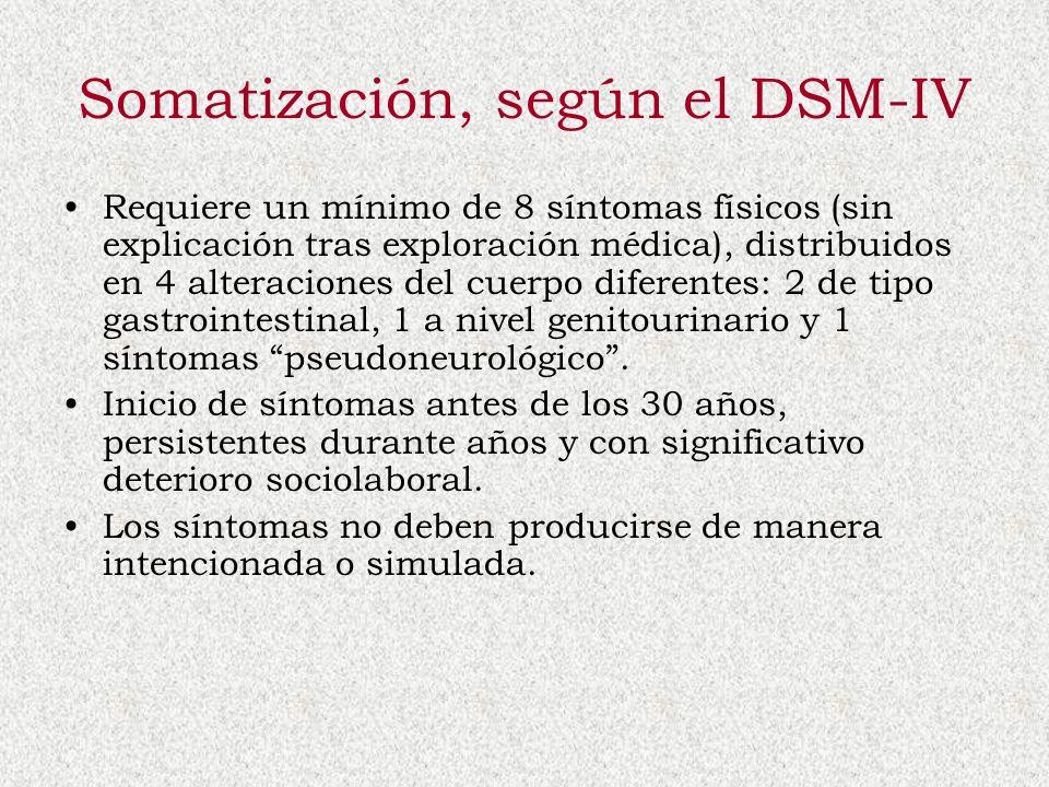 Somatización, según el DSM-IV Requiere un mínimo de 8 síntomas físicos (sin explicación tras exploración médica), distribuidos en 4 alteraciones del c
