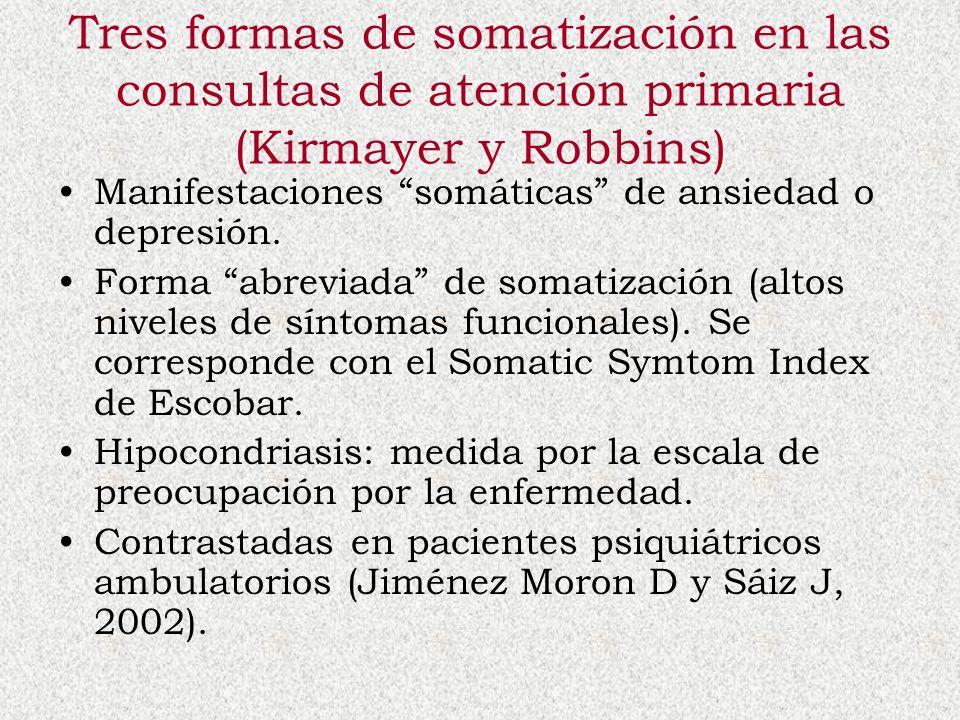 Tres formas de somatización en las consultas de atención primaria (Kirmayer y Robbins) Manifestaciones somáticas de ansiedad o depresión. Forma abrevi