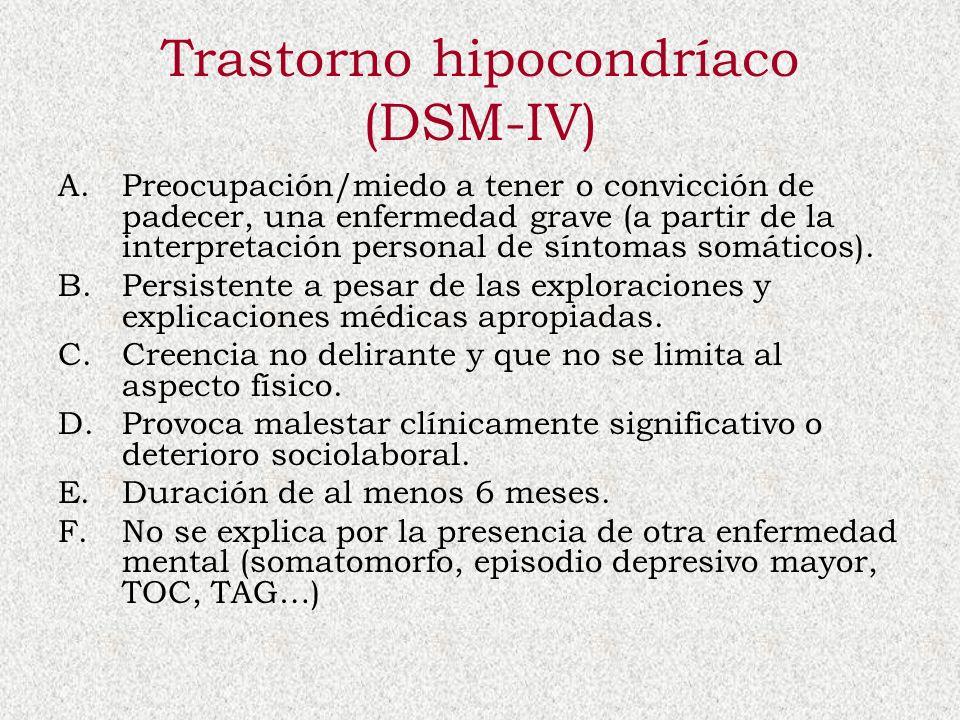 Trastorno hipocondríaco (DSM-IV) A.Preocupación/miedo a tener o convicción de padecer, una enfermedad grave (a partir de la interpretación personal de