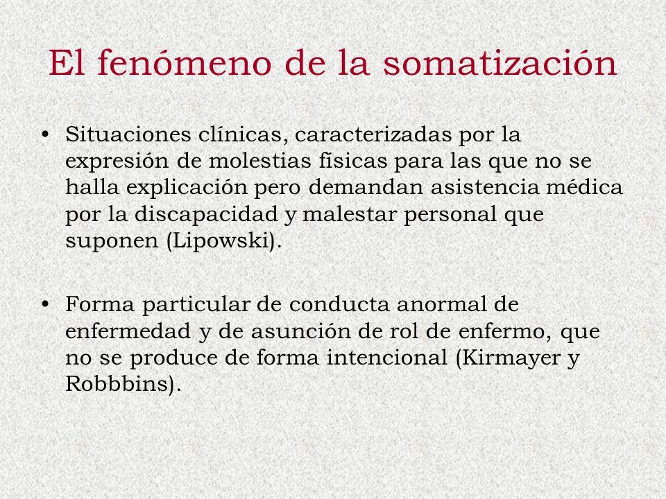 El fenómeno de la somatización Situaciones clínicas, caracterizadas por la expresión de molestias físicas para las que no se halla explicación pero de