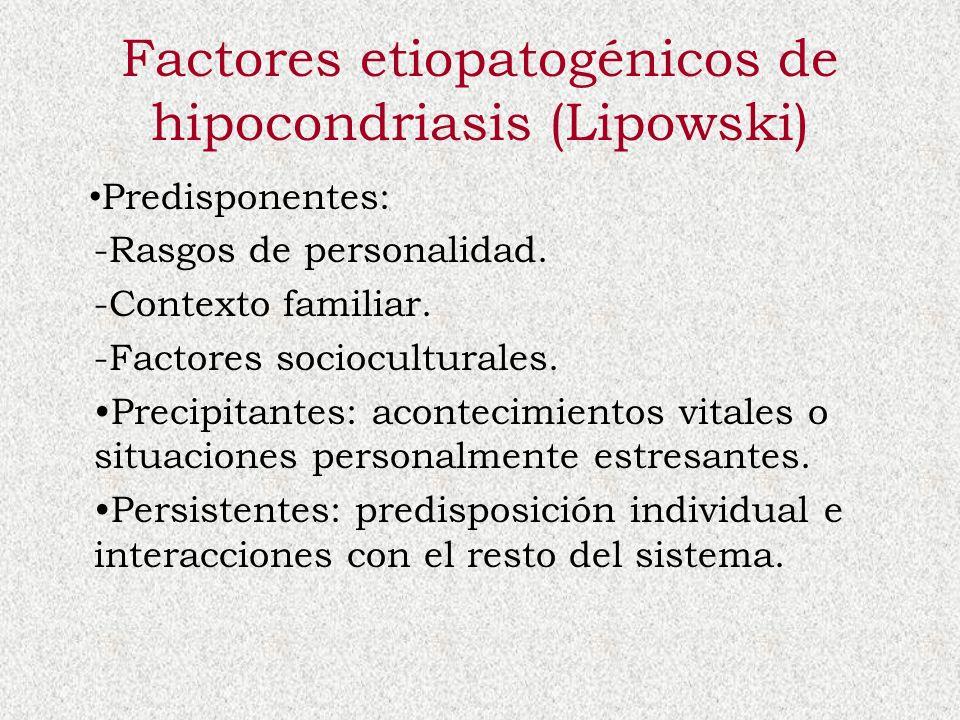 Factores etiopatogénicos de hipocondriasis (Lipowski) Predisponentes: -Rasgos de personalidad. -Contexto familiar. -Factores socioculturales. Precipit