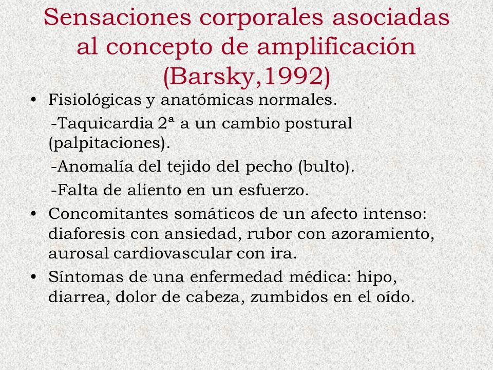 Sensaciones corporales asociadas al concepto de amplificación (Barsky,1992) Fisiológicas y anatómicas normales. -Taquicardia 2ª a un cambio postural (