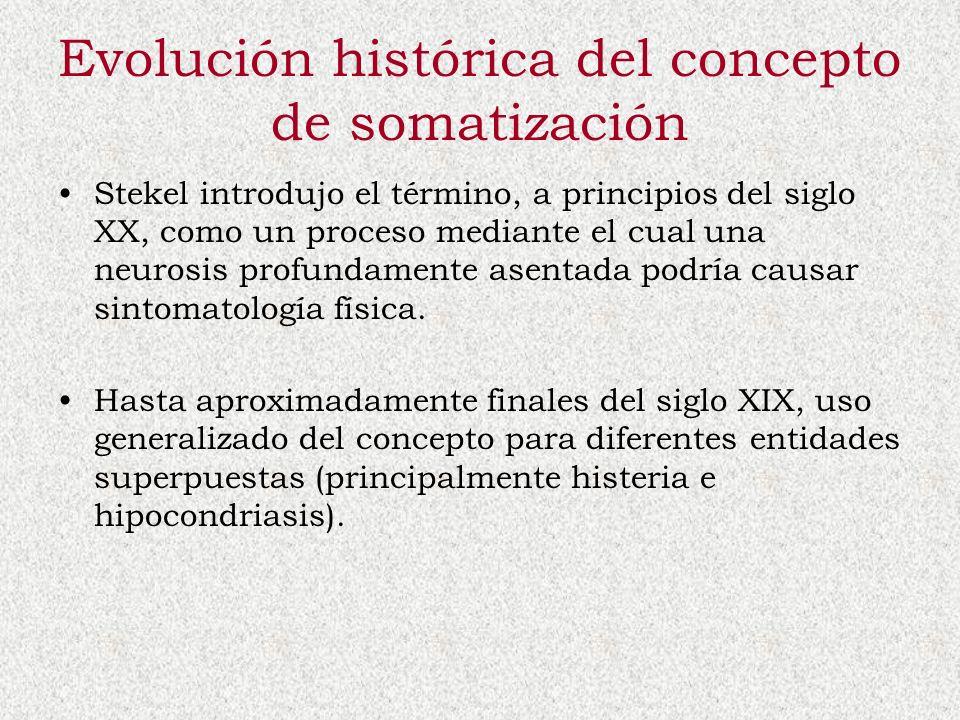 Evolución histórica del concepto de somatización Stekel introdujo el término, a principios del siglo XX, como un proceso mediante el cual una neurosis