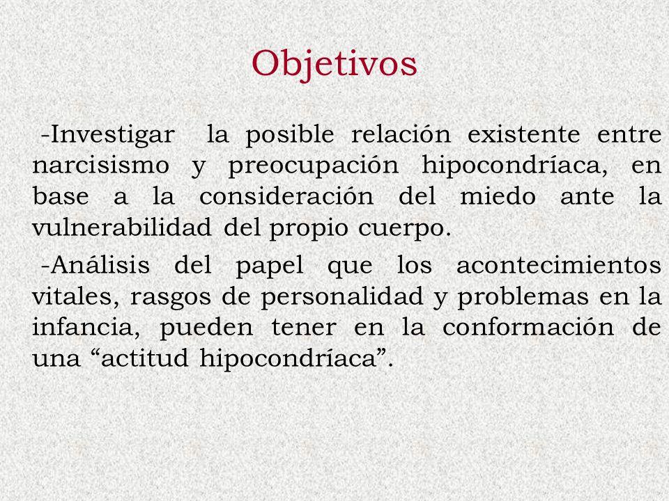 Objetivos -Investigar la posible relación existente entre narcisismo y preocupación hipocondríaca, en base a la consideración del miedo ante la vulner