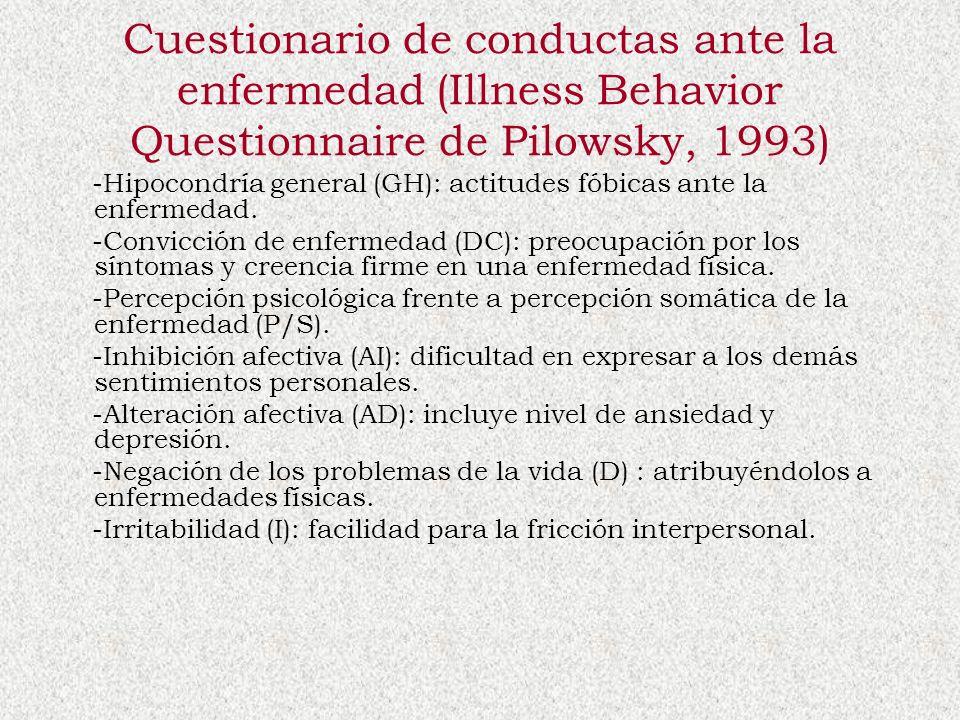 Cuestionario de conductas ante la enfermedad (Illness Behavior Questionnaire de Pilowsky, 1993) -Hipocondría general (GH): actitudes fóbicas ante la e