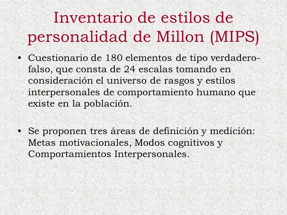 Inventario de estilos de personalidad de Millon (MIPS) Cuestionario de 180 elementos de tipo verdadero- falso, que consta de 24 escalas tomando en con