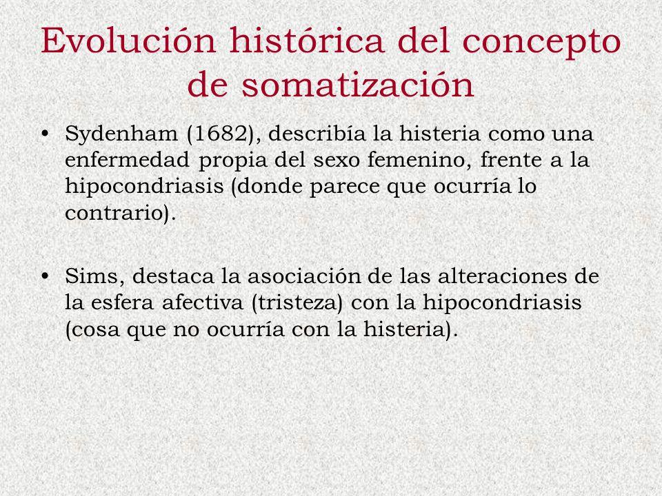 Evolución histórica del concepto de somatización Sydenham (1682), describía la histeria como una enfermedad propia del sexo femenino, frente a la hipo