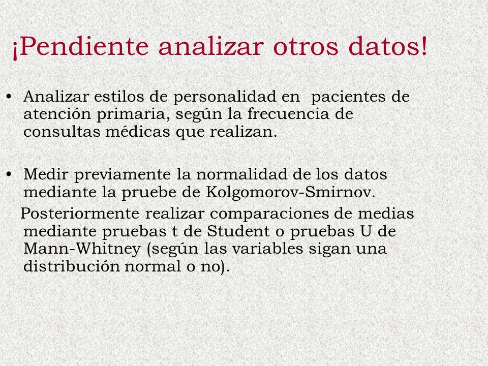 ¡Pendiente analizar otros datos! Analizar estilos de personalidad en pacientes de atención primaria, según la frecuencia de consultas médicas que real