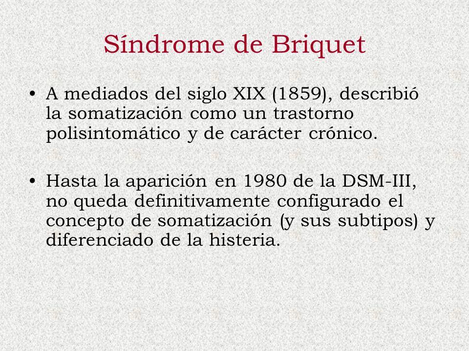 Síndrome de Briquet A mediados del siglo XIX (1859), describió la somatización como un trastorno polisintomático y de carácter crónico. Hasta la apari