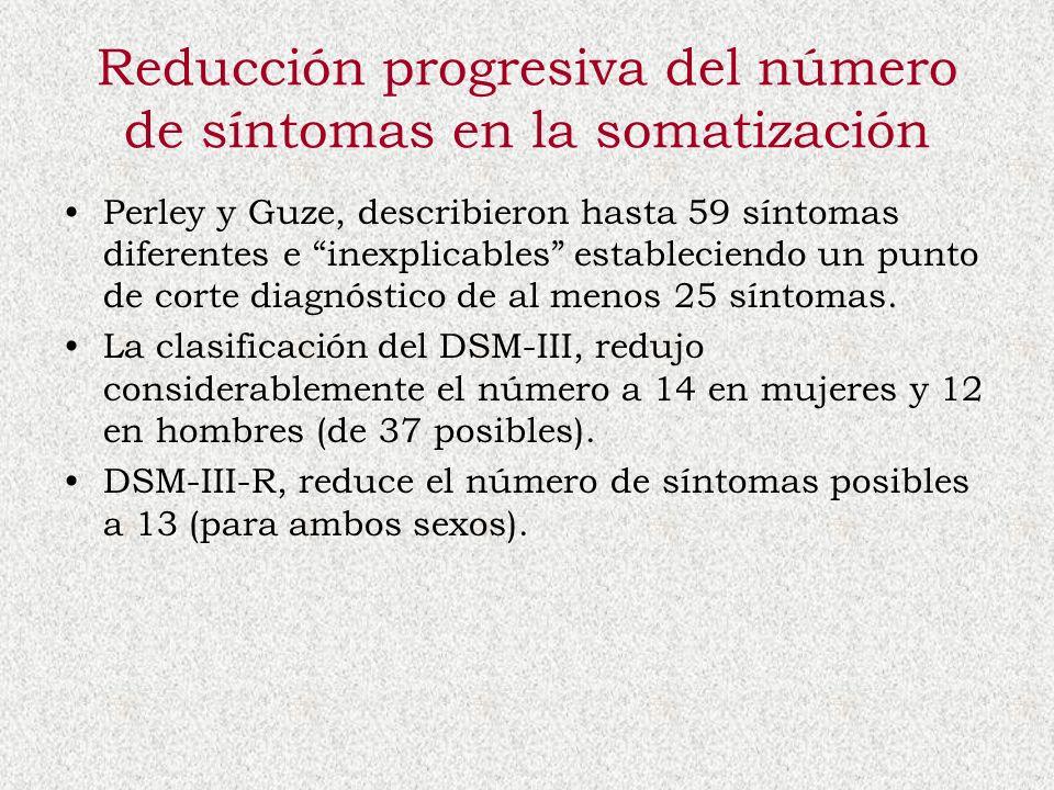 Reducción progresiva del número de síntomas en la somatización Perley y Guze, describieron hasta 59 síntomas diferentes e inexplicables estableciendo