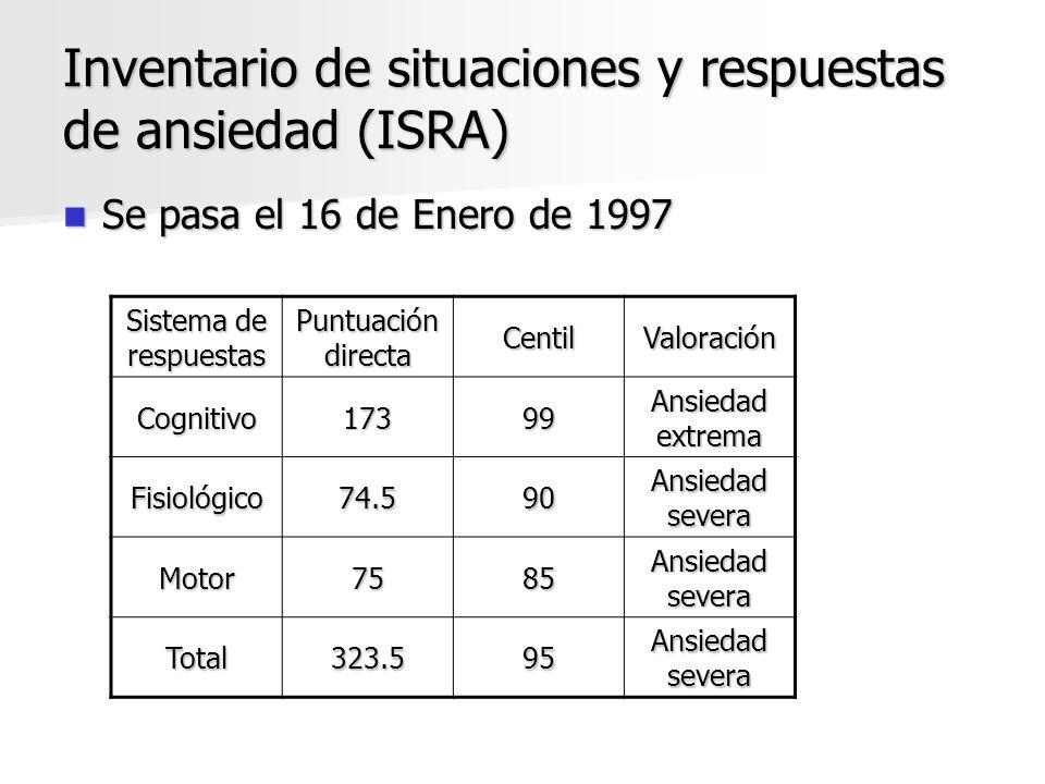 Inventario de situaciones y respuestas de ansiedad (ISRA) Se pasa el 16 de Enero de 1997 Se pasa el 16 de Enero de 1997 Sistema de respuestas Puntuaci