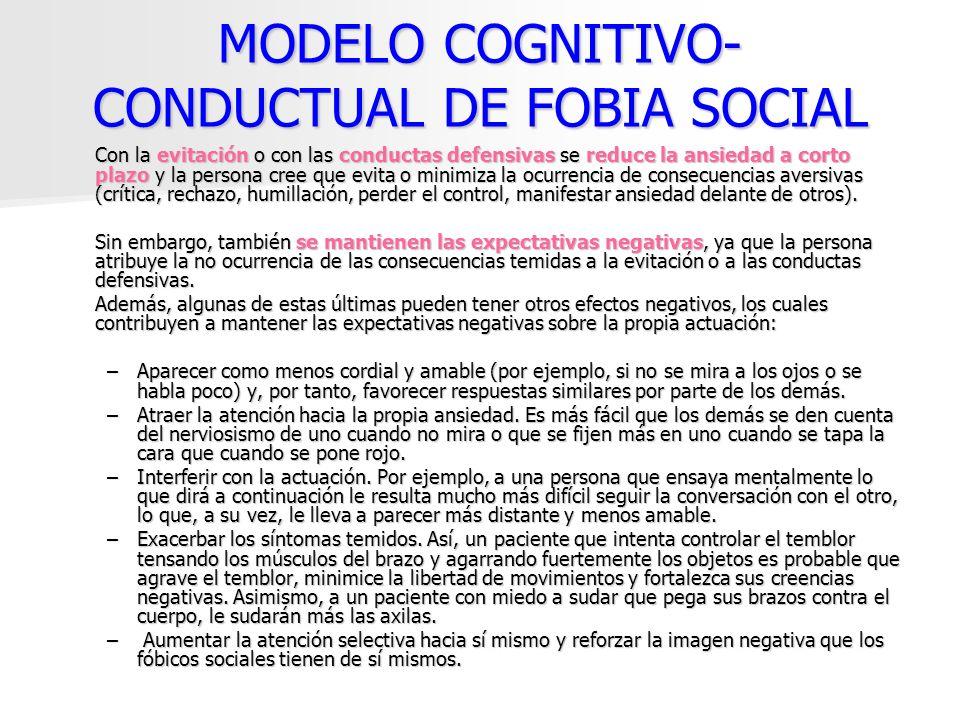 MODELO COGNITIVO- CONDUCTUAL DE FOBIA SOCIAL Con la evitación o con las conductas defensivas se reduce la ansiedad a corto plazo y la persona cree que