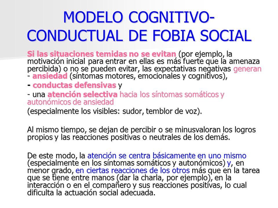 MODELO COGNITIVO- CONDUCTUAL DE FOBIA SOCIAL Si las situaciones temidas no se evitan (por ejemplo, la motivación inicial para entrar en ellas es más f