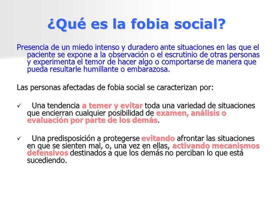 ¿Qué es la fobia social? Presencia de un miedo intenso y duradero ante situaciones en las que el paciente se expone a la observación o el escrutinio d
