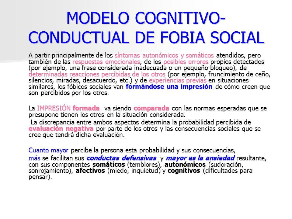 MODELO COGNITIVO- CONDUCTUAL DE FOBIA SOCIAL A partir principalmente de los síntomas autonómicos y somáticos atendidos, pero también de las respuestas