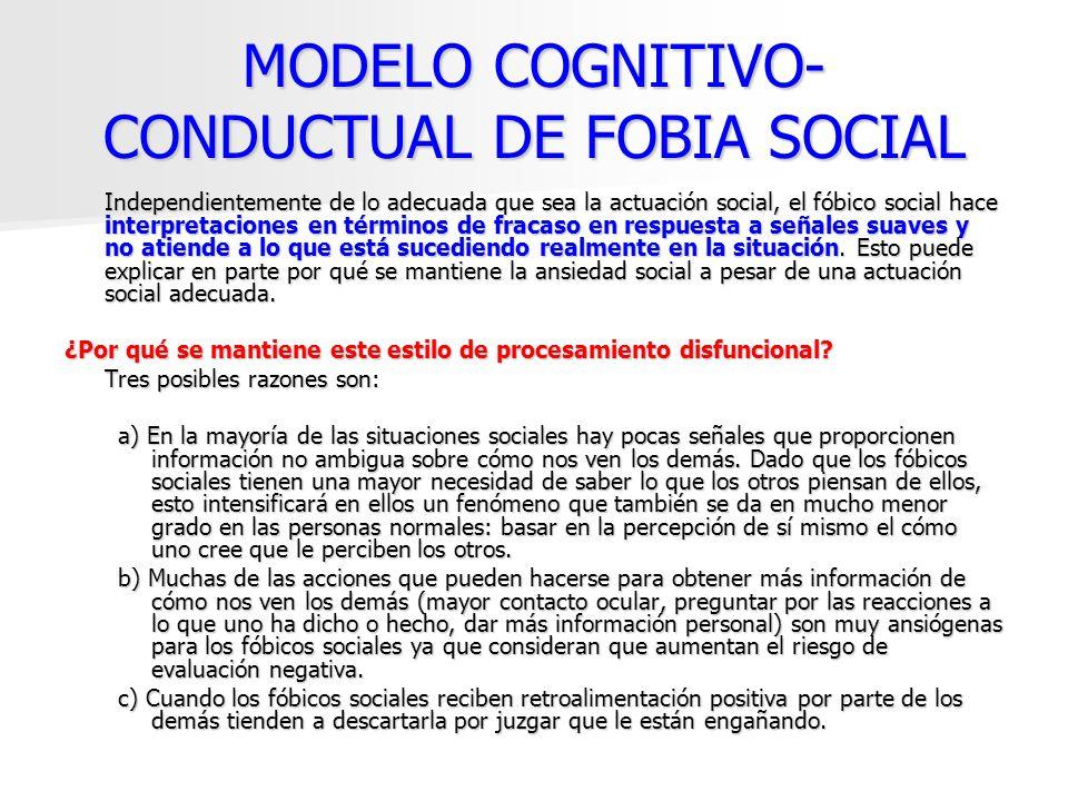 MODELO COGNITIVO- CONDUCTUAL DE FOBIA SOCIAL Independientemente de lo adecuada que sea la actuación social, el fóbico social hace interpretaciones en