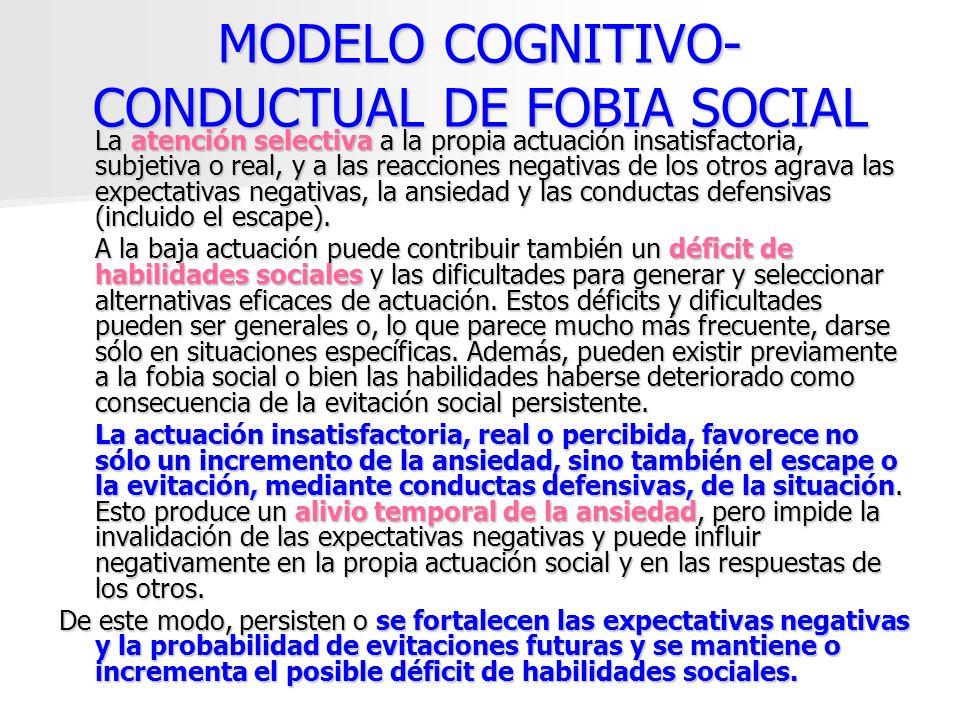 MODELO COGNITIVO- CONDUCTUAL DE FOBIA SOCIAL La atención selectiva a la propia actuación insatisfactoria, subjetiva o real, y a las reacciones negativ