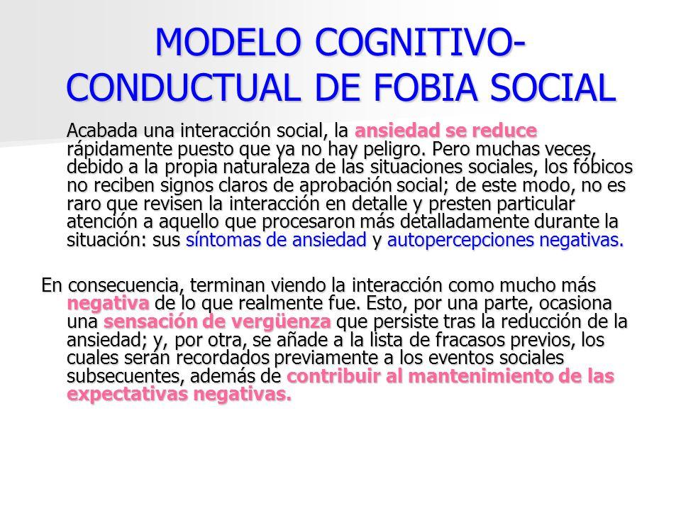 MODELO COGNITIVO- CONDUCTUAL DE FOBIA SOCIAL Acabada una interacción social, la ansiedad se reduce rápidamente puesto que ya no hay peligro. Pero much