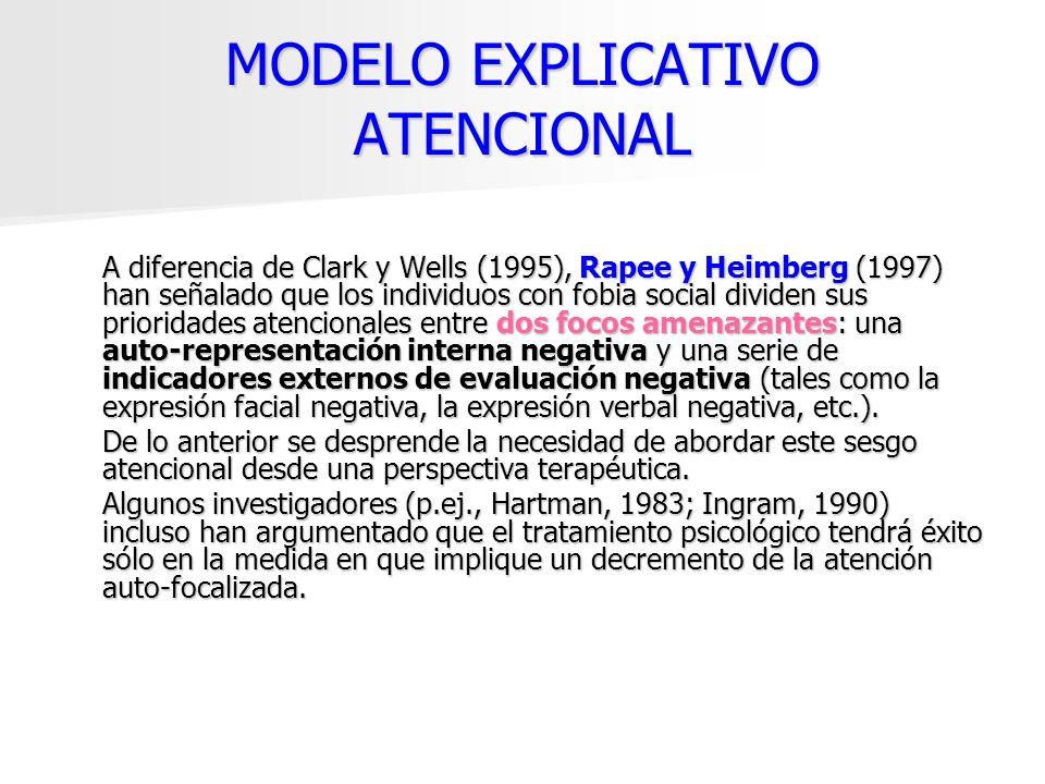 MODELO EXPLICATIVO ATENCIONAL A diferencia de Clark y Wells (1995), Rapee y Heimberg (1997) han señalado que los individuos con fobia social dividen s