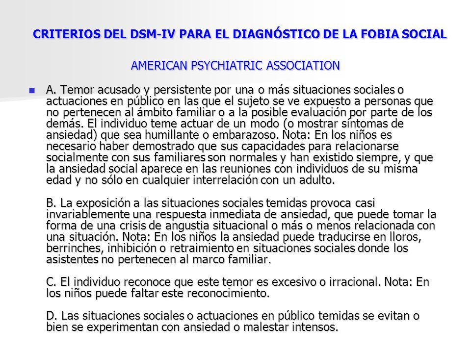 CRITERIOS DEL DSM-IV PARA EL DIAGNÓSTICO DE LA FOBIA SOCIAL AMERICAN PSYCHIATRIC ASSOCIATION CRITERIOS DEL DSM-IV PARA EL DIAGNÓSTICO DE LA FOBIA SOCI